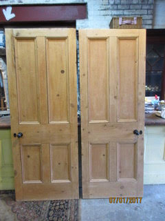 Pair of Victorian Stripped 4 Panel Doors