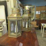 Pair of period brass wall lanterns